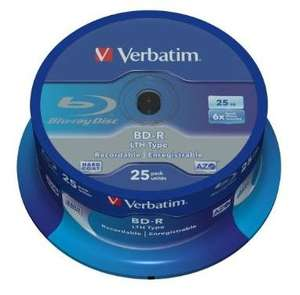 Verbatim Bluray Rohlinge LTH 25 GB - 25er Spindel über Amazon