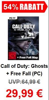 Call of Duty Ghosts Gameladen.com  29,99€ inklusive Free Fall mit kleiner Trickserei 20€