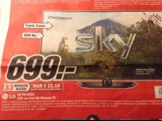 """[mediamarkt (nur) Dorsten] LG Plasma 60"""" PN 6506 - nochmal günstiger"""