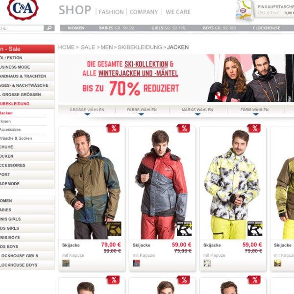 Bis -70% bei C&A auf Jacken und Skisachen
