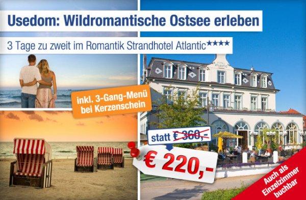 Urlaub im 4*-Strandhotel Atlantic auf Usedom und 3 Gänge Menü - 3 Tage zu Zweit bei Ab-in-den-Urlaub