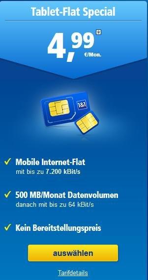 Datenflat von 1&1 mit 500MB Datenvolumen für 4,99€/Monat