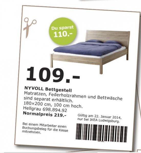 [Ikea Ludwigsburg] Nyvoll Bettgestell Hellgrau 180x200 NP 219,- für 109,- mit Coupon