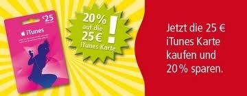 [Rewe] 25€ iTunes- und AppStore Karte für 20€