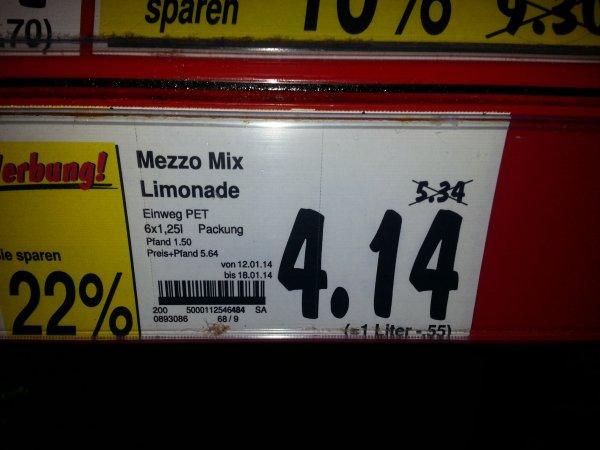 Kaufland Hanau (lokal?) - 1,25 L Cola, Sprite, Fanta und Mezzo Mix für 0,69 € pro Flasche