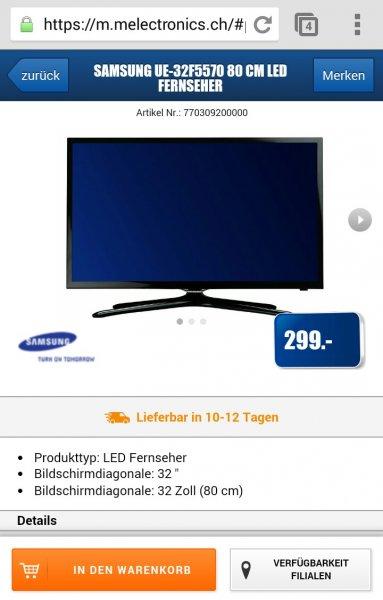 Samsung UE-32F5570 80 cm LED Fernseher ca. 250 Euro