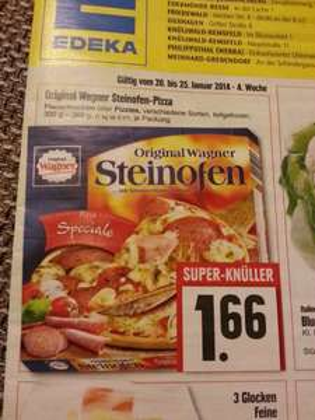[EDEKA] Wagner Steinofen Pizza 1,66€ ; Müller Froop 0,29€ ; Toffifee 0,88€ ; Haribo Fruchtgummi 0,59€ ; Jägermeister 7,99 €