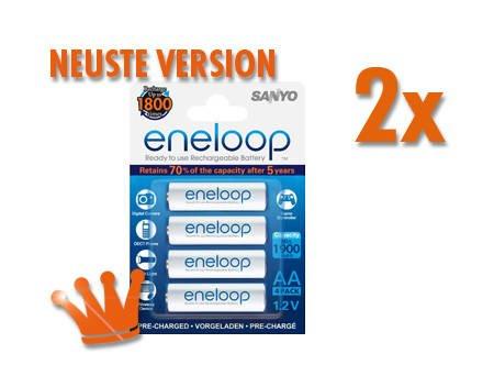8x Sanyo eneloop Akku NiMH Micro AAA 800mAh HR4-UTGB neuste Version für 12.58€