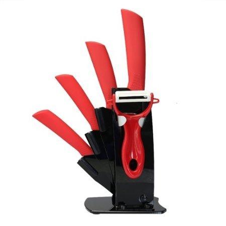 Vivreal® 6tlg Keramik Messerset Küchenmesser Set Kochmesser Messer Display Messerblock