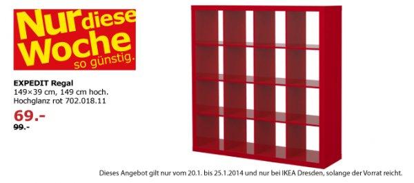 IKEA Dresden: Expedit - Regal (4x4) in hochglanz-rot für 69 EUR