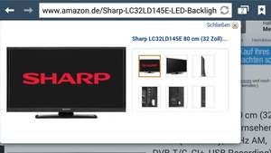 Amazon Sharp LC32LD145E 80 cm (32 Zoll) LED-Backlight-Fernseher, EEK A (HD-Ready, 50 Hz AM, DVB-T/C, CI+, USB Recording) schwarz
