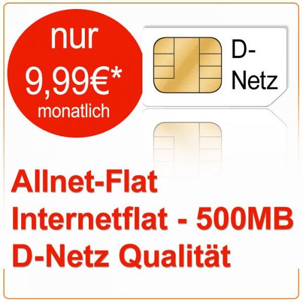Allnet-Flat + Internetflat (500MB) im D-Netz für monatlich nur 9,99€