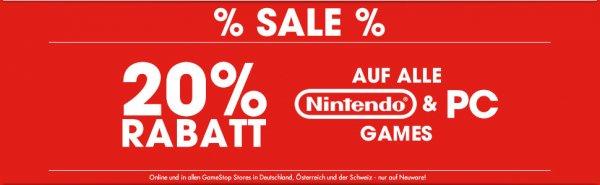 Gamestop 20% Rabatt auf Nintendo- und PC-Games