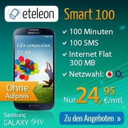 Smart 100 Internetflat + 100 Min + 100 SMS + gratis Smartphone ab 7,95€ mtl