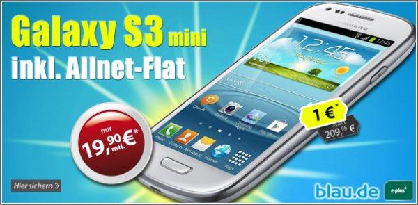 Gratis S3 mini oder Motorola Moto G zu blau Allnet + Internet Flat nur 19,90 mtl