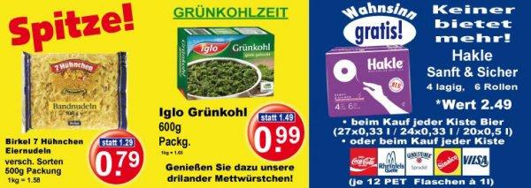 [K+K Einzugsgebiet] Iglo Grünkohl für 99 Cent. Dazu passend mit jeder Bierkiste einen Gratissechserpack Hakle Sanft & Sicher.