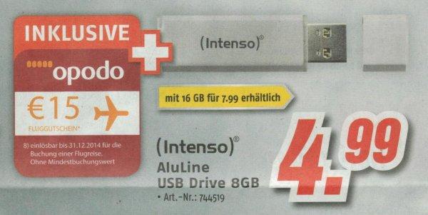 Intenso Aluline USB Stick 8GB 4,99 / 16GB 7,99 inkl. 15€ Opodo Gutschein