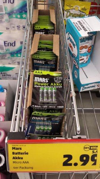 Mars Power Akku/Alkaline  AAA 4St. für 2.99 bei Penny Jöhlingen (75045)