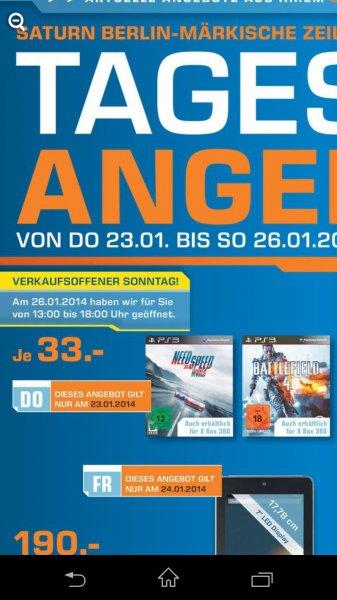 (Lokal Berlin) nur am 23.01 Need for Speed Rivals & Battlefield 4 für PS3 & Xbox 360