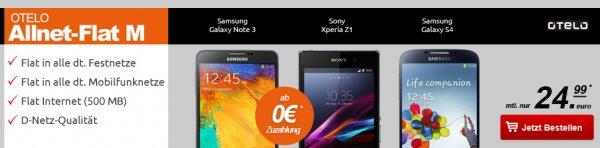Otelo Allnet Telefonie Flat + 500MB Daten im D2-Netz nur 24,99€ mtl.| S4/Z1/HTC One inkl. 32 GB SD Karte ab 0€, Samsung Galaxy Note 3/Iphone5c für nur 29€!