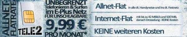 Tele2 Allnet Flat inkl. Internet Flat - Aktion 9,99
