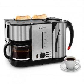 Klarstein - Frühstücksset 3 in 1 TK3G-Hattrick mit Kaffee Wasserkocher Toaster 3000 Watt in Schwarz