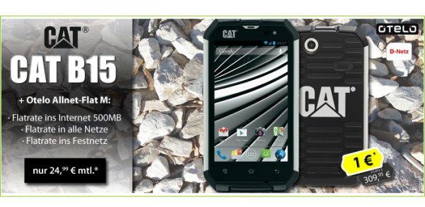 Das neue Outdoor Smartphone Caterpillar CAT B15 + Otelo Allnet-Flat M D-Netz nur 24,99€ mtl