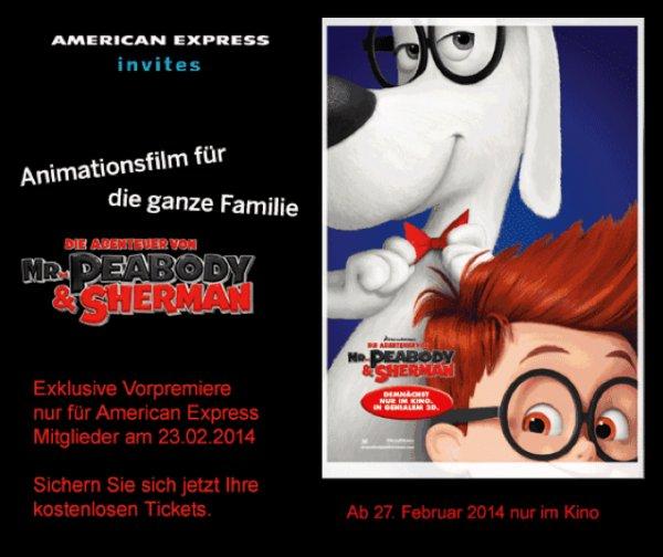 [AMEX] Die Abenteuer von Mr. Peabody and Sherman: Vorpremiere in genialem 3D Freikarten