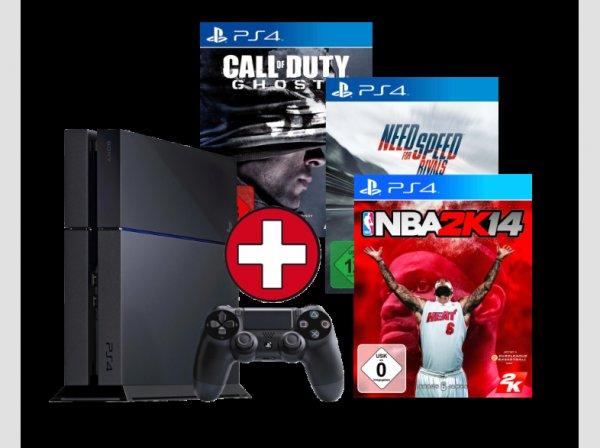 Playstation 4 + 3 Spiele bei MM-Online lieferbar