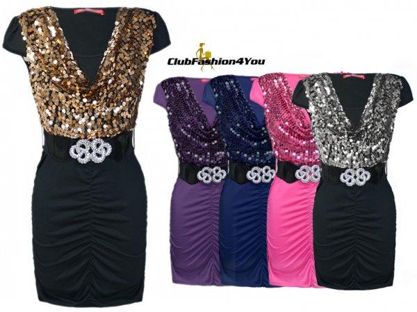 Sexy Party Kleid mit Pailletten & Gürtel in Trendy Farben | Gr. M L XL XXL