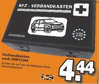 KFZ Verbandkasten nach neuer DIN 13164 für 4,44 EUR bei Globus Baumarkt ab 27.01.14
