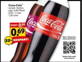 Coca Cola 1,25 l 0,69 Netto mit Töle bundesweit