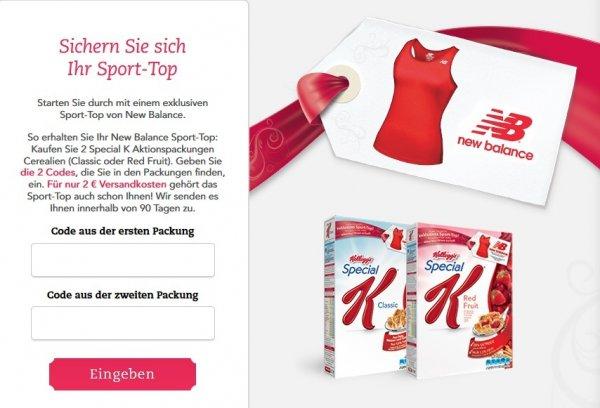 2 Packungen Kellogs Special K oder Special K Fruits + New Balance Sport Top für Damen für ca. 8€