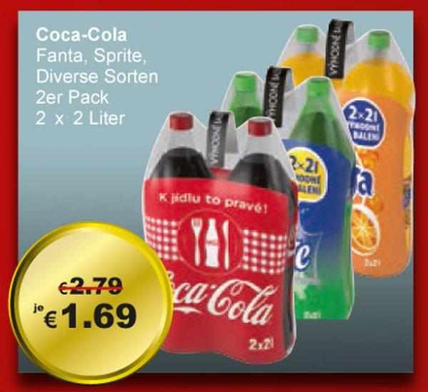 Coca Cola, Fanta, Sprite, diverse Sorten,  2 x 2 Liter für 1,69 € => Literpreis 0,43 € [ LOKAL Grenzgänger Tschechien ] bei TRAVEL FREE + weitere Angebote