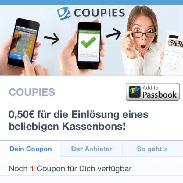 [Coupies] 0,50€ für einen beliebigen Kassenbon