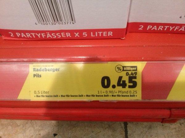 Radeberger Pilsner, 0,5l Dosen nun für 45 Cent!, Penny Markt...lokal (Berlin), eventuell bundesweit?