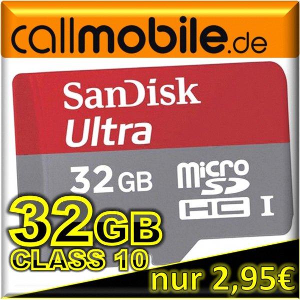 callmobile Sim + 32GB SanDisk mobile Ultra micro SDHC für 2,95€