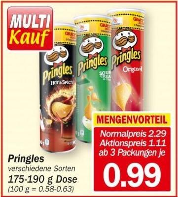 [HIT] Pringles für 1,11 EUR und ab 3 Rollen nur 0,99 EUR (ab Mo.)