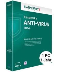 Kaspersky Anti-Virus 2014 (1 PC) für 8€ @Rakuten