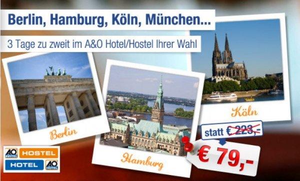 AIDU- Kurztrip in Deutschland – A&O Hotels  2 Pers / 2 Nächte - 79€ inkl Frühstück- Rabattmöglichkeit