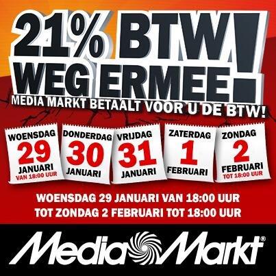 MM Holland mit 21% BTW actie naechste Mittwoch von 29-01-2014 bis 2-2-2014