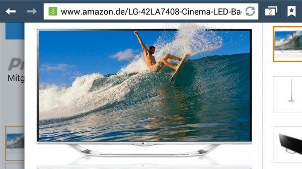 Amazon.de LG 42LA7408 106 cm (42 Zoll) Cinema 3D LED-Backlight-Fernseher, EEK A+ (Full HD, 800Hz MCI, WLAN, DVB-T/C/S, Smart TV) silber idealo 771 €