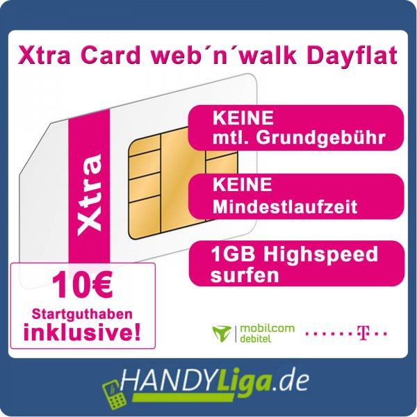 Xtra Web'n'Walk Karte mit 10€ Startguthaben für 1€ @Ebay(Handyliga)