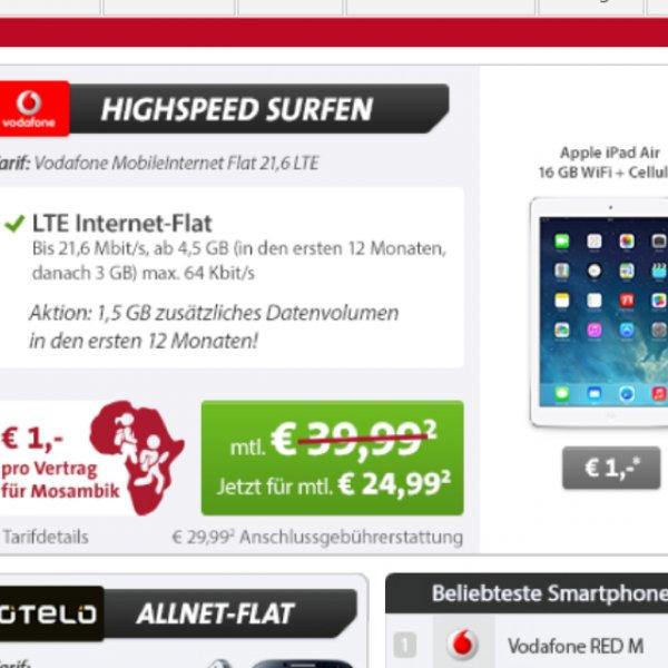 iPad Air 16GB + Cellular mit Vodafone 21,6 Mbit Vertrag rechnerisch für 19,99€ für Studenten. EFFEKTIVE 120 Gewinn