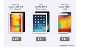 Vodafone MobileInternet Flat 21,6 LTE Sparhandy für 24,99 € - Ipad Air 16GB LTE 1 € - Galaxy Note 10.1 2014 LTE 29 €