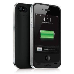 Mophie Juice Pack Air Schützende Hartschale mit integriertem Akku (1500 mAh) für Apple iPhone 4 schwarz