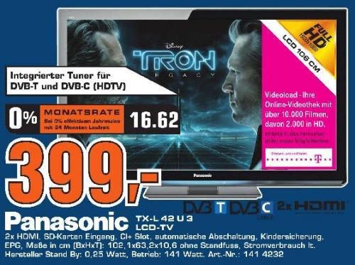"""Saturn Stuttgart/ES: Panasonic TX-L42U3 für 399€ - 42"""" Full-HD LCD mit DVB-T/C + 24p"""