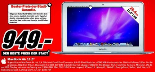 """Media Markt Stuttgart: MacBook Air (Late 2010) für 949€ (11.6"""", C2D 1.40GHz, 4096MB, 64GB SSD)"""