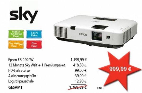 Beamer Epson EB-1920W + 1 Jahr Sky Welt + 1 Premiumpaket  + HD+