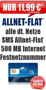 o2 Blue All-in M Allnet + Internet Flat + Festnetznummer eff. 11,99€ mt